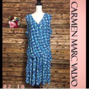 Carmen Marc Valvo Watercolor Tiered Dress 18